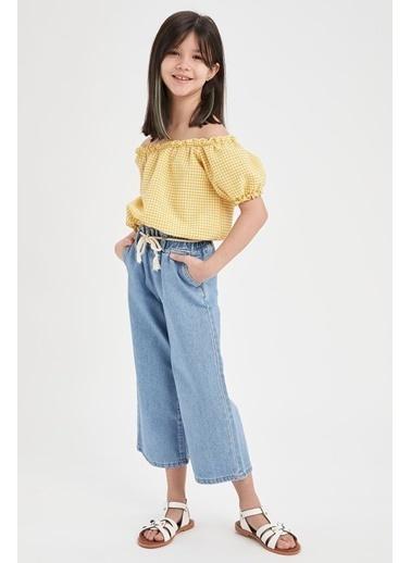 DeFacto Kız Çocuk Pötikareli Bluz Sarı